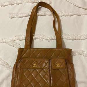 Chanel Brown Quilted Leather Shoulder Bag Vintage
